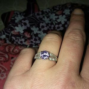 Amethyst,CZ ring set in Sterling Silver Size 7